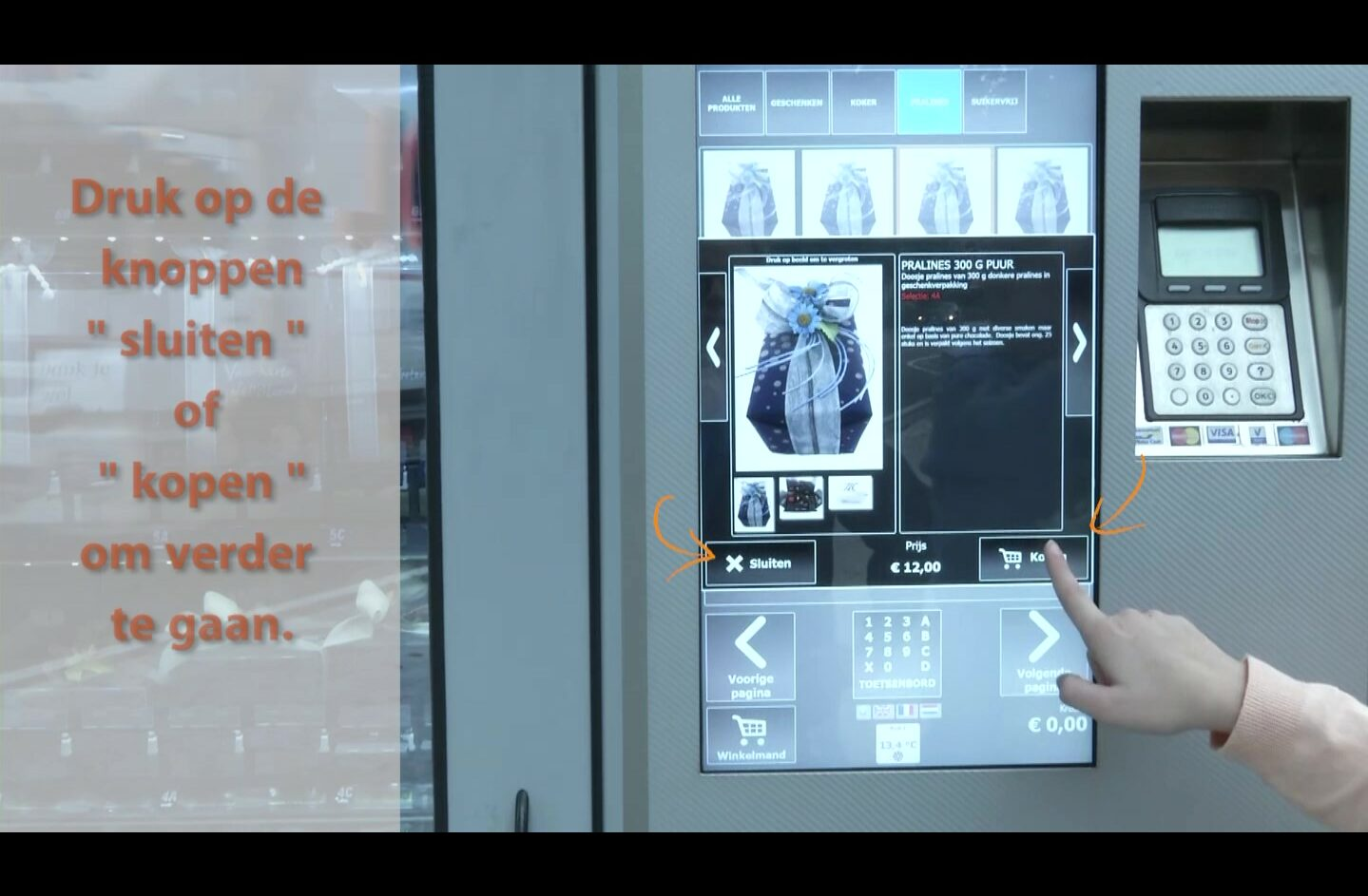 Uitleg automaat chocoladewinkel
